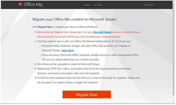 Pagina di conferma migrazione Office Mix