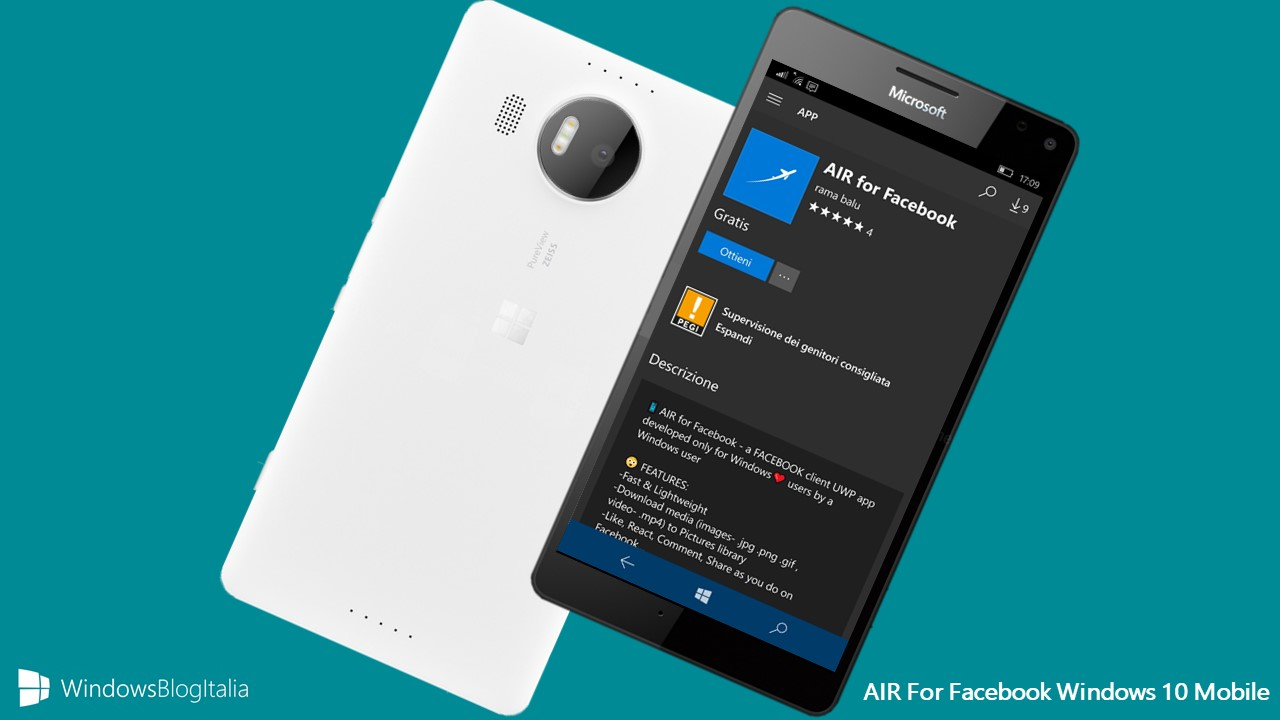 WIndows 10 Mobile AIR Facebook