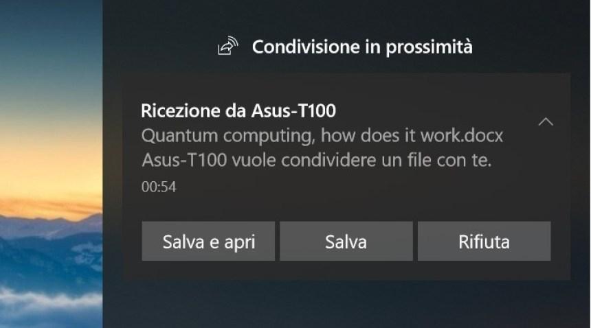 Condivisione in prossimità Windows 10 file ricevuto