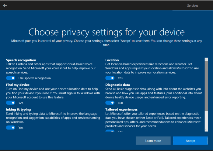 Windows 10 Privacy Setup
