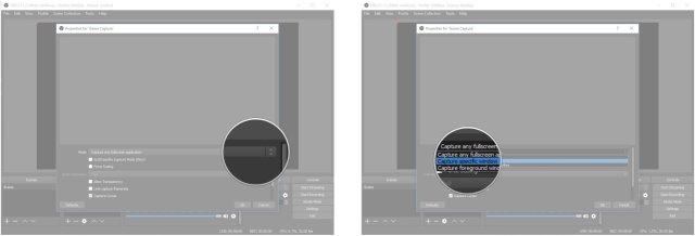 Click the dropdown menu. Click Capture specific window.