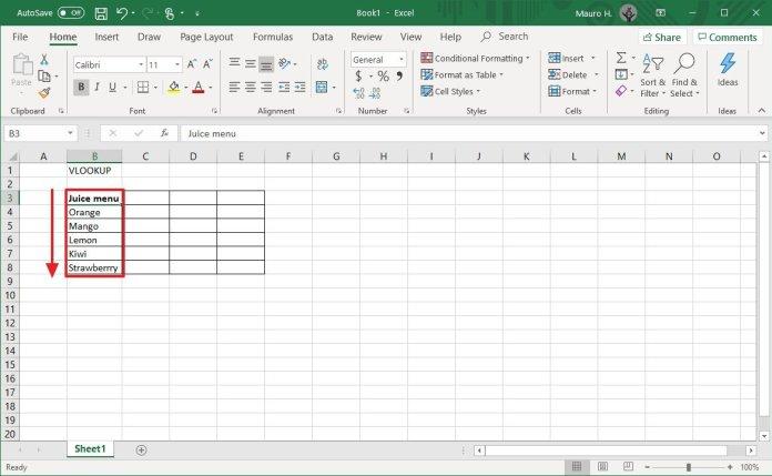 Excel column listing