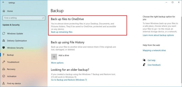 Windows 10 backup files to OneDrive option