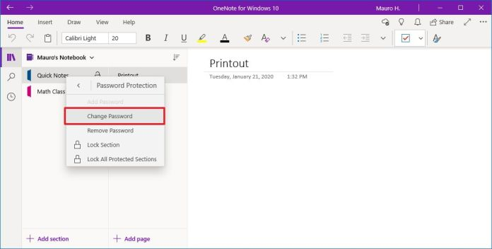 OneNote change section password