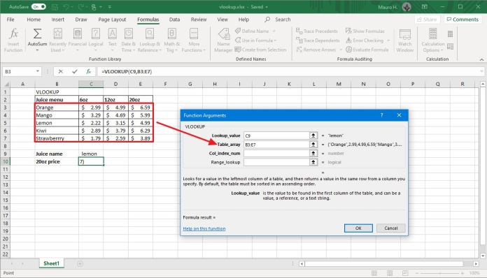 VLOOKUP tool table array field