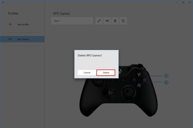 Xbox Accessories delete profile