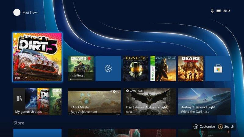 Xbox Series X S Dashboard