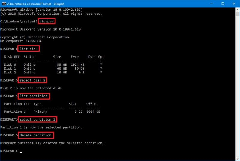 DiskPart remove partition on Windows 10