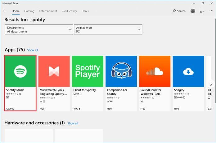 Microsoft Store search app