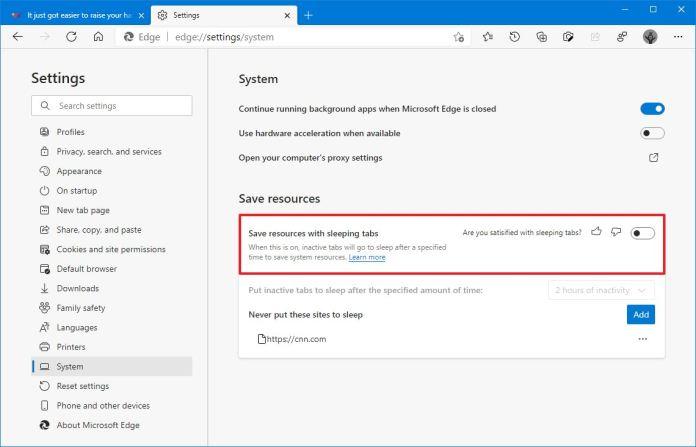 Microsoft Edge disable sleeping tabs
