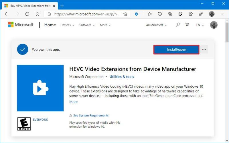 Windows 10 HEVC codec download