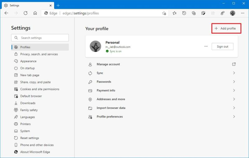 Microsoft Edge add profile option