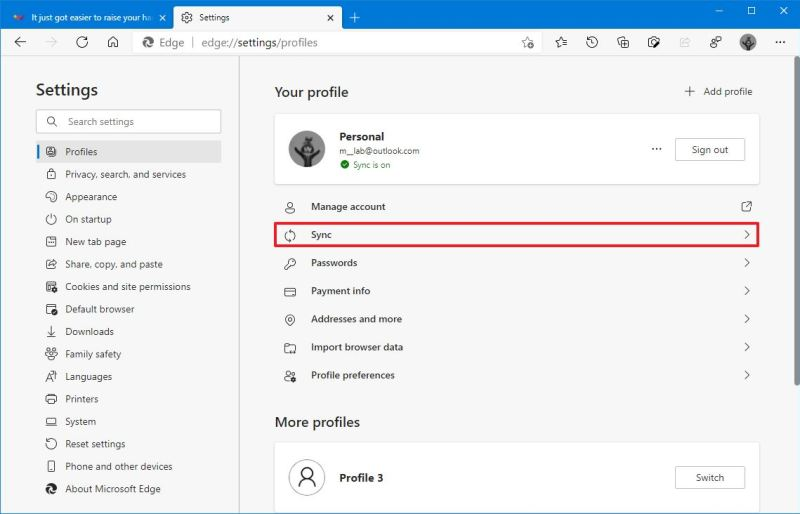 Microsoft Edge profile sync option