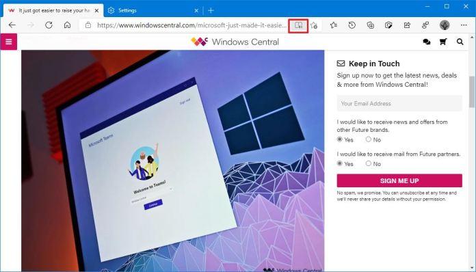 Microsoft Edge enable immersive reader