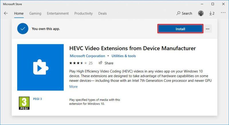 Install free version of HEVC codec