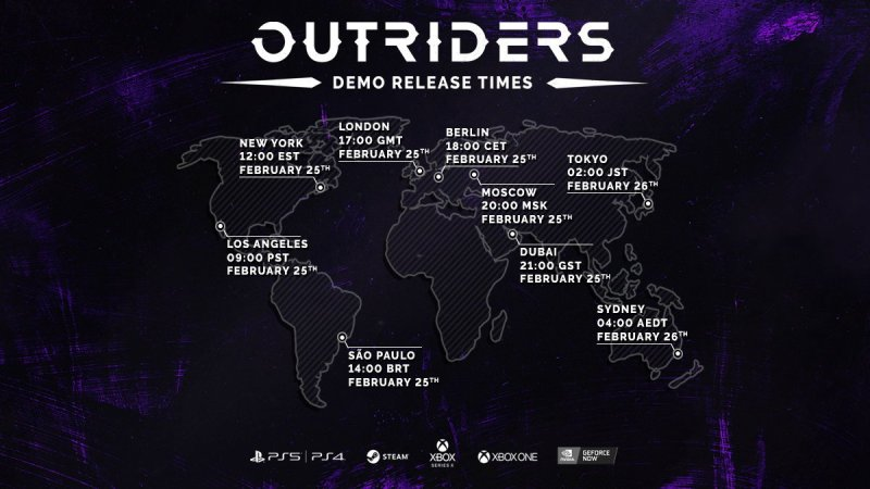 Outriders Demo Release Times