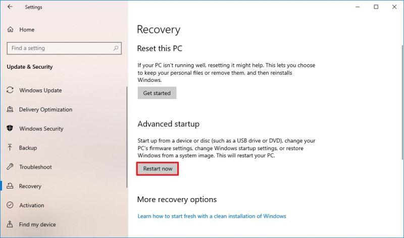 Advanced Startup restart now button