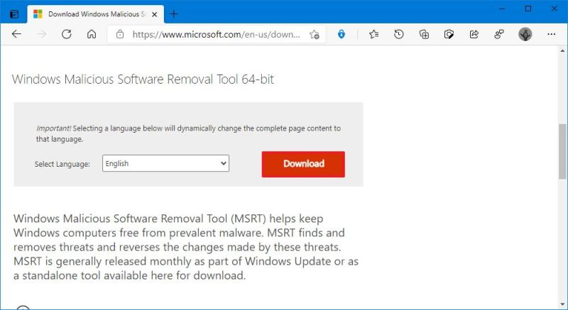 Download the Malicious Software Removal Tool