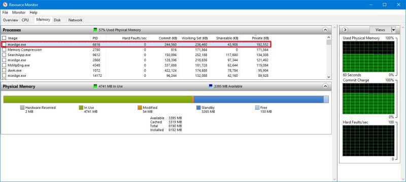 Resource Monitor check app memory usage