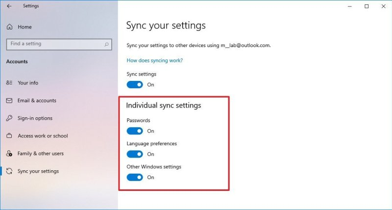 Windows 10 Sync settings Themes removed