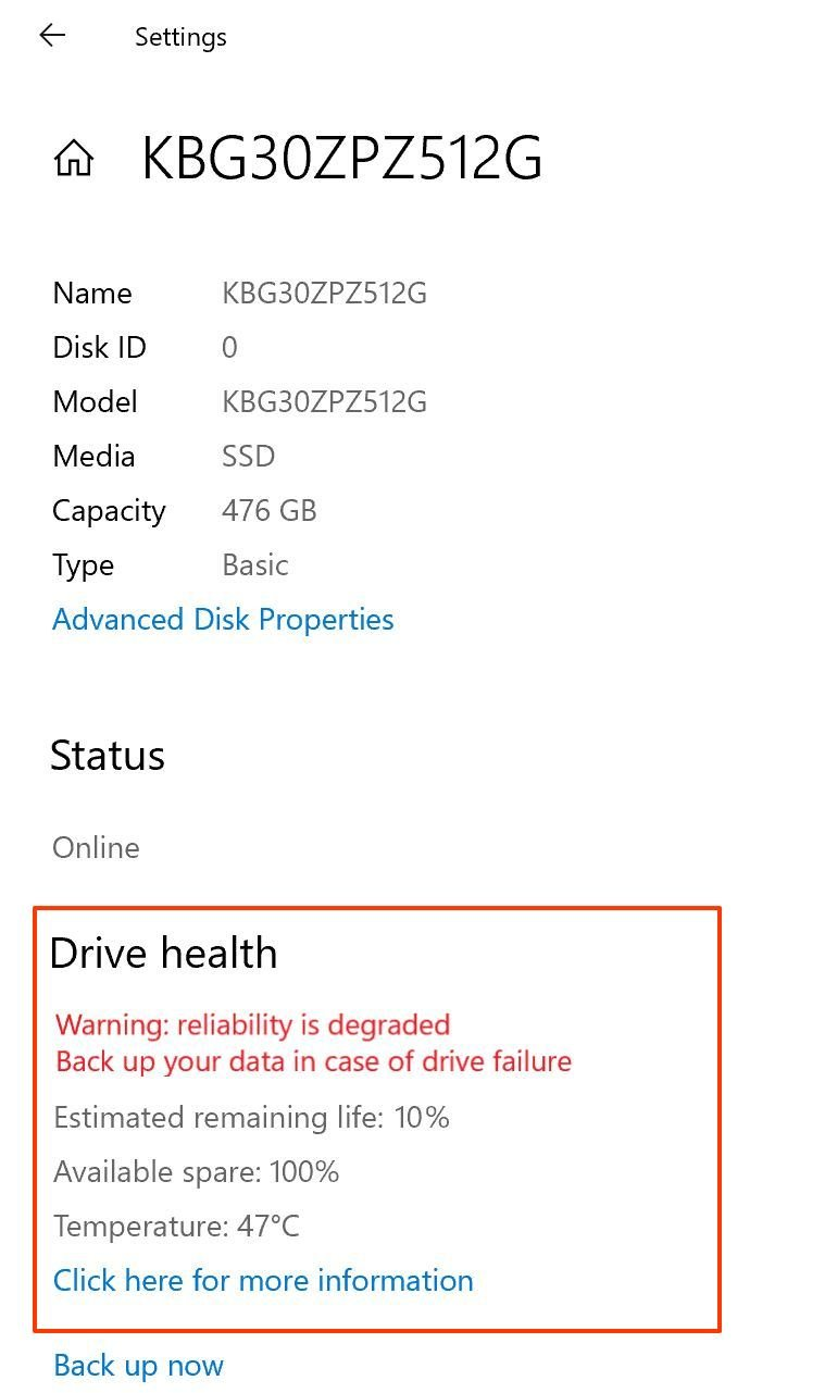 Storage health on Windows 10