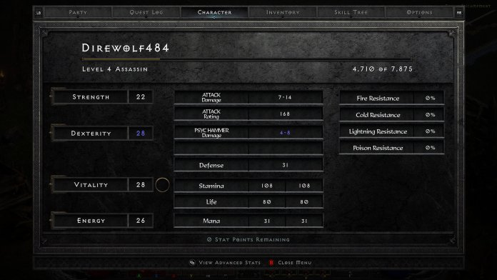 Diablo 2 Resurrected Assassin Stats