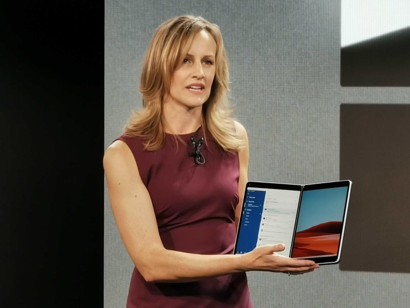 Microsoft employee with Surface Neo