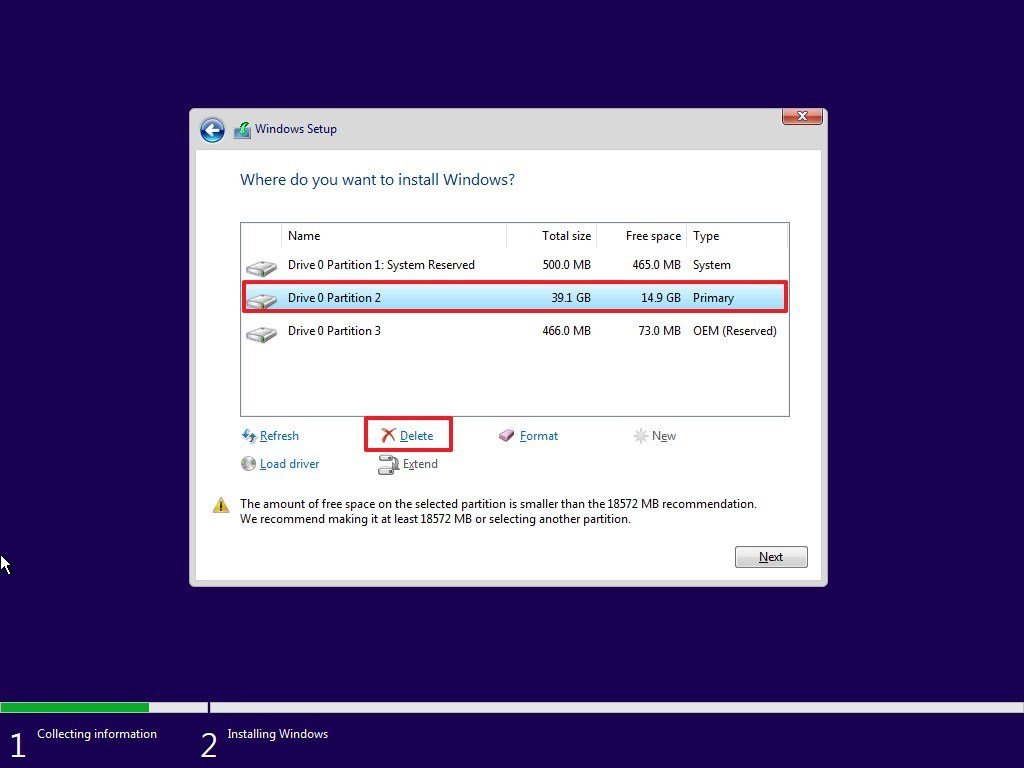 Delete partitions to install Windows 10