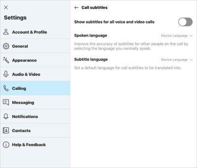 Skype Subtitle Toggle