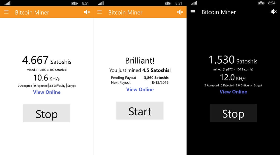 bitcoin miner app updated on windows 10 mobile and pc with