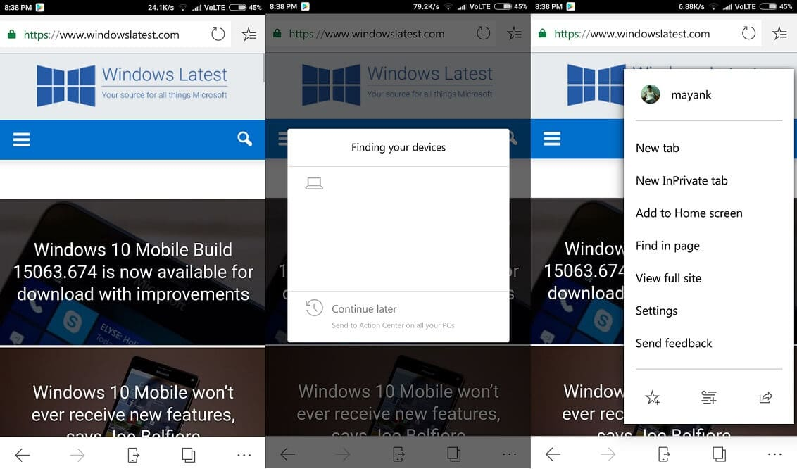 Microsoft Edge beta for iOS and Android