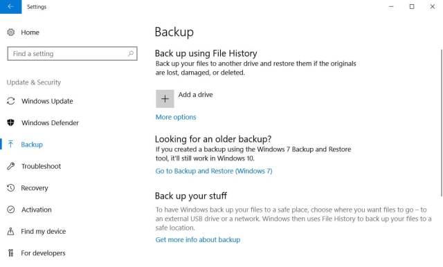 Backup in Windows 10