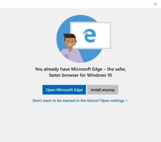 Microsoft Edge suggestion