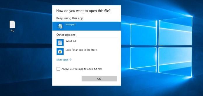 Windows 10 association bug