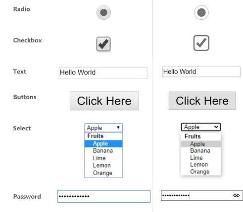 Chrome web controls