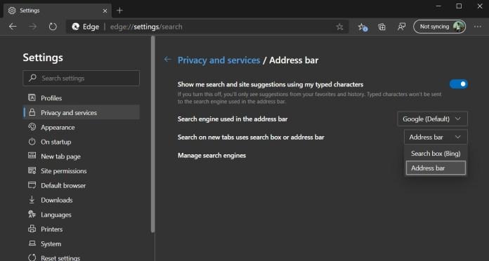 Microsoft Edge search bar