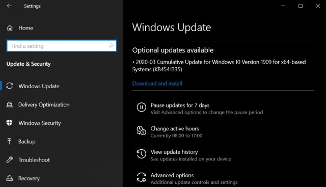 Windows 10 optional update