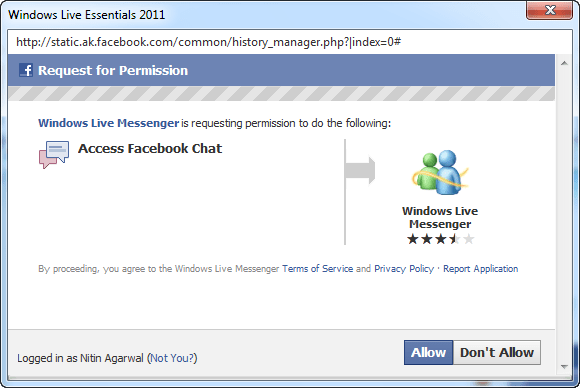 Facebook Chat in Windows Live Messenger