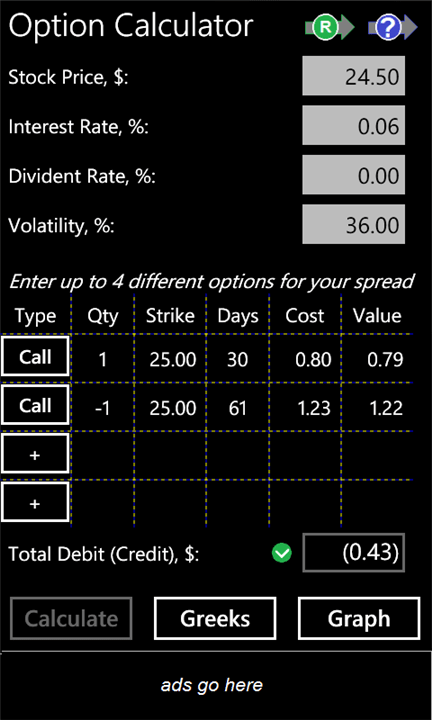 Windows Phone 7 Option Calculator App