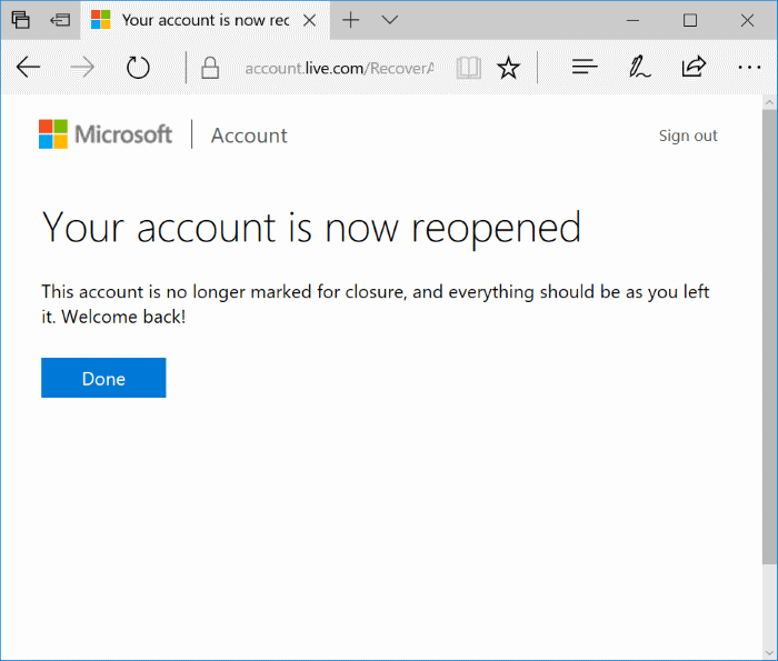 reopen closed Microsoft Account