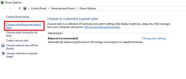 Power button in Windows 10