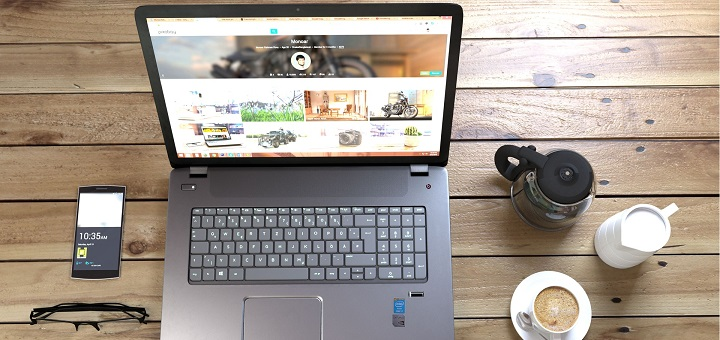 laptop, coffee