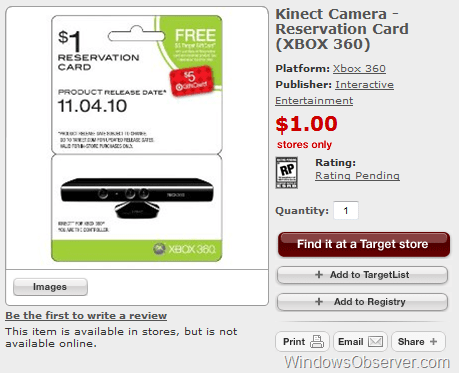 Kinect for Xbox 360 Pre-Orders Selling out Across the Web