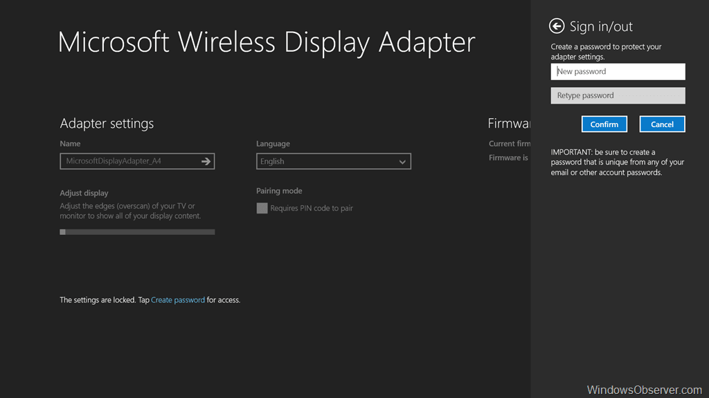 Microsoft Wireless Display Adapter Settings App for Windows 8.1  WindowsObserver.com
