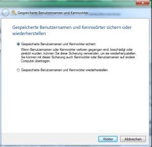 Geheimen Assistenten für Passwörter verwenden Windows 7 2