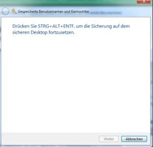 Geheimen Assistenten für Passwörter verwenden Windows 7 4