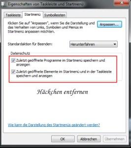Zuletzt verwendete Dokumente nicht anzeigen Windows 7 3