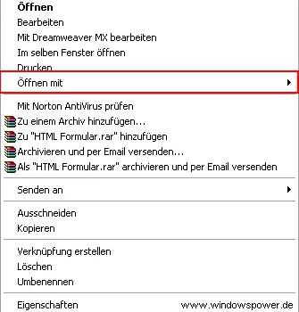 Öffnen von Datei-Typen mit einem bestimmten Programm 0