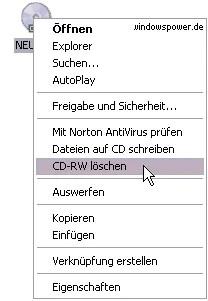 CD-RWs mit Windows XP löschen 0