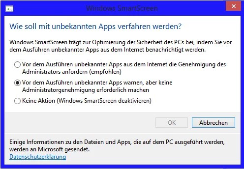Windows 8 Smart Screen Einstellungen 0
